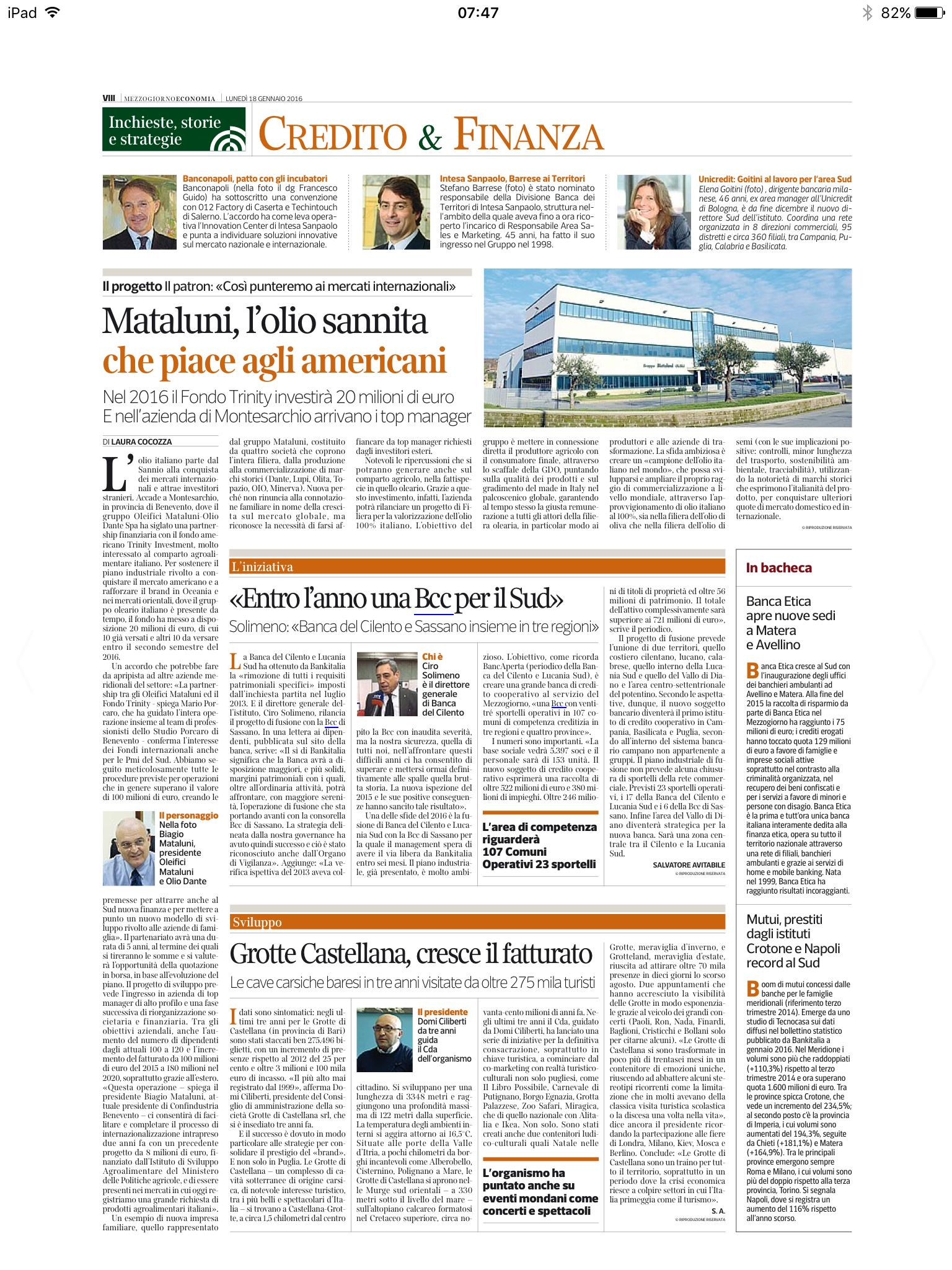 Corriere della sera - Credito&Finanza - Grotte di Castellana - Bilancio