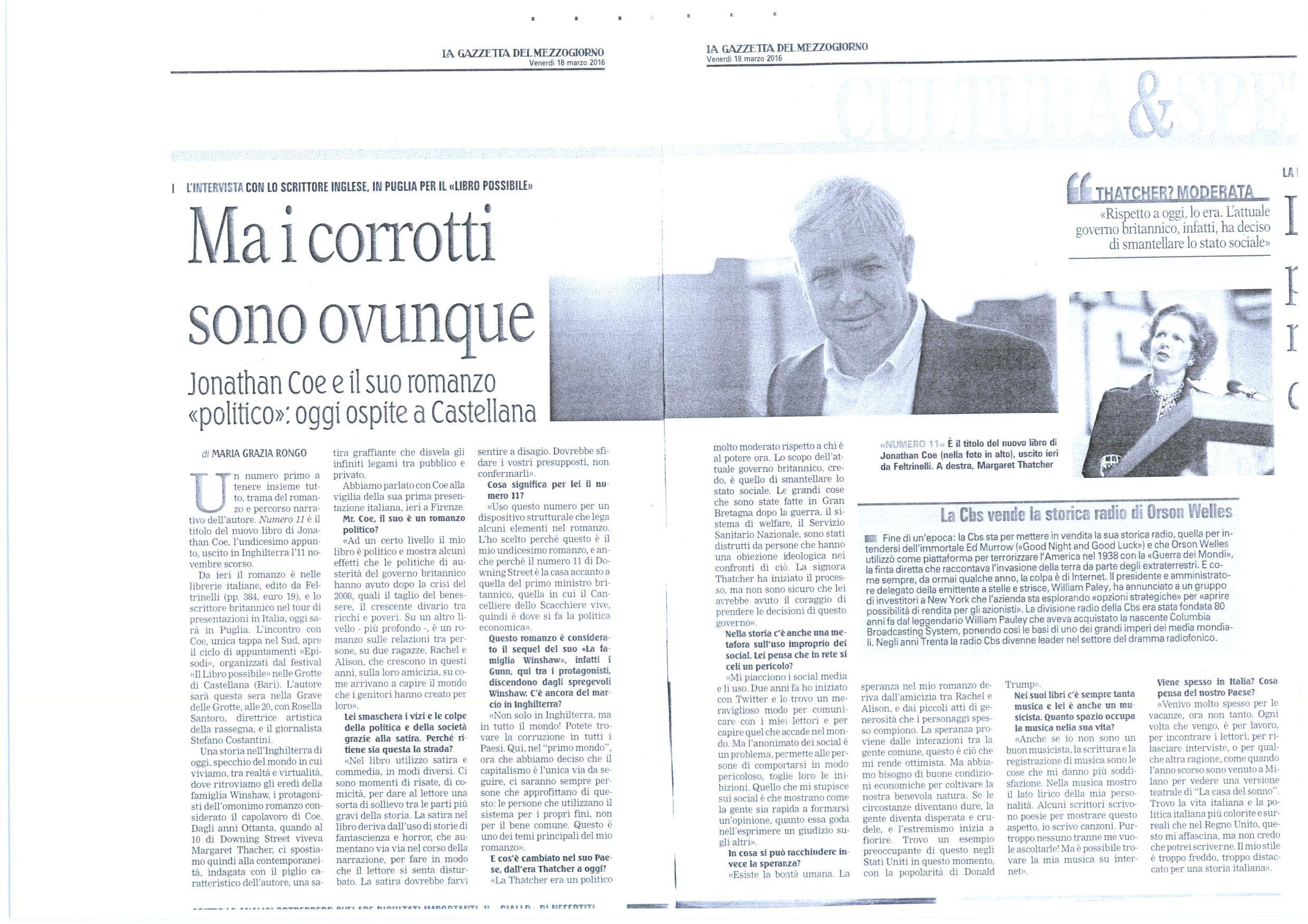 Gazzetta mezzogiorno 18-03-16